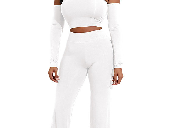 Strapless Long Sleeve Strappy Two-piece Of Pantsuit