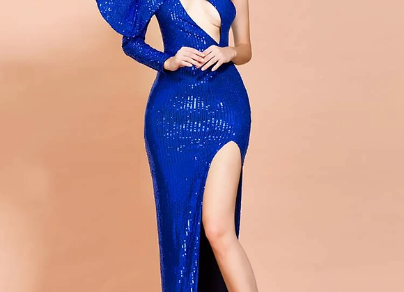 Missord Exaggerated Bow Cut-Out Split Thigh Sequin Prom Dress