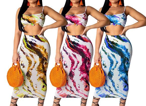 New 2 Piece Crop Top Dress Set