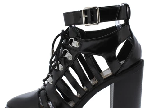 Kirby Black Cut Out Strappy Lace Up Ankle Boot