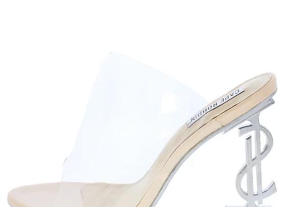 Chantel Nude Clear Lucite Peep Toe Mule Symbol Heel