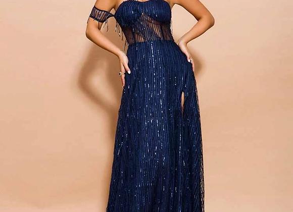 Missord Split Thigh Sequin Bardot Maxi Dress