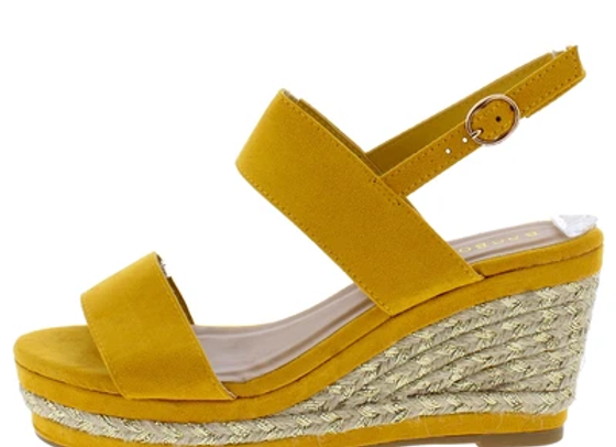 Belle07 Marigold Dual Strap Open Toe Slingback Espadrille Wedge