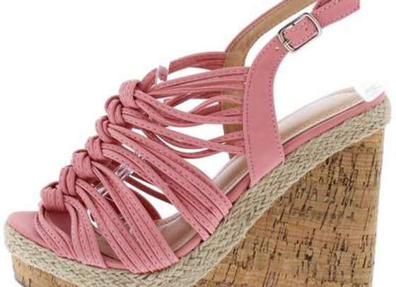 Aurora123 Mauve Knotted Strappy Open Toe Slingback Cork Wedge