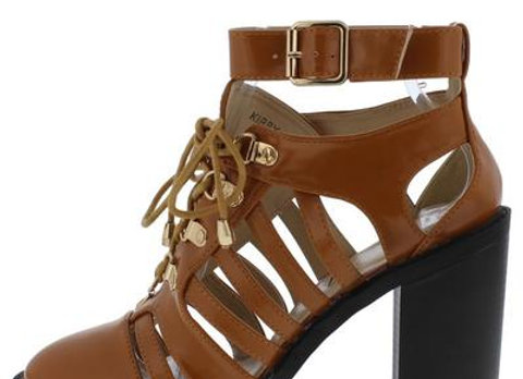 Kirby Camel Cut Out Strappy Lace Up Ankle Boot