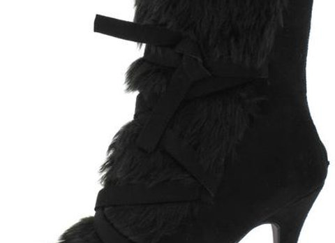 Caroline041 Black Faux Fur Cross Tie Strap Ankle Boot