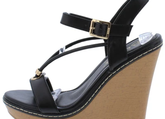Althea1 Black Strappy Open Toe Ankle Strap Platform Wedge