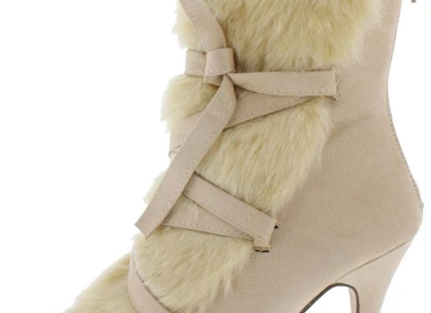 Caroline041 Nude Faux Fur Cross Tie Strap Ankle Boot