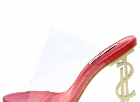 Chantel Red Clear Lucite Peep Toe Mule Symbol Heel