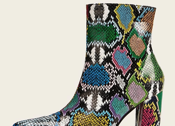 Snake Print Point Toe Block Heel Boots