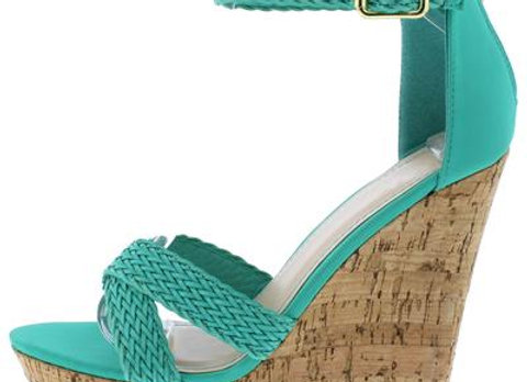 Eliza60 Teal Cross Strap Open Toe Platform Cork Wedge