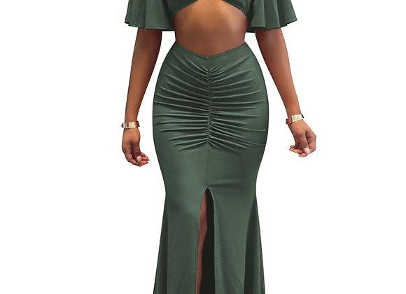 Ruffle Off Shoulder Slim Two-Piece Evening Dress