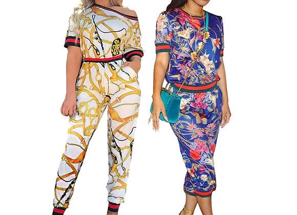 Women's 2pc Short Sleeve African Design Pants Set