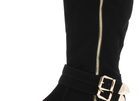 Britney017 Black Multi Buckle Side Zip Boot