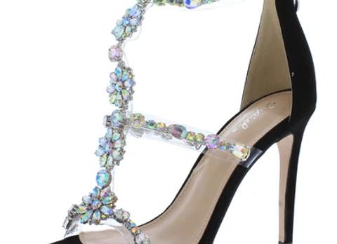 Fitz01 Black Suede Pu Flower Jeweled Open Toe Stiletto Heel