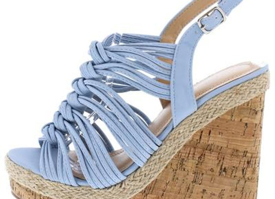 Aurora123 Blue Knotted Strappy Open Toe Slingback Cork Wedge