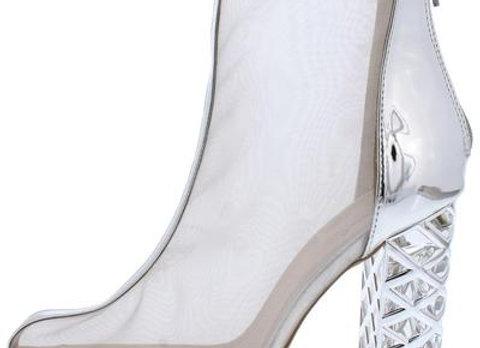 Zuleka01 Silver Mesh Geo Lucite Heel Ankle Boot