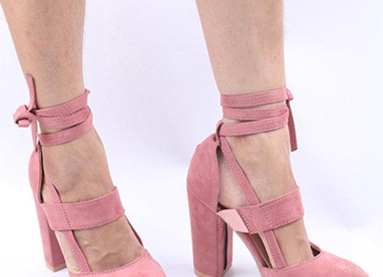Women's Ankle Tie Heels - Chunky Style Block Heel