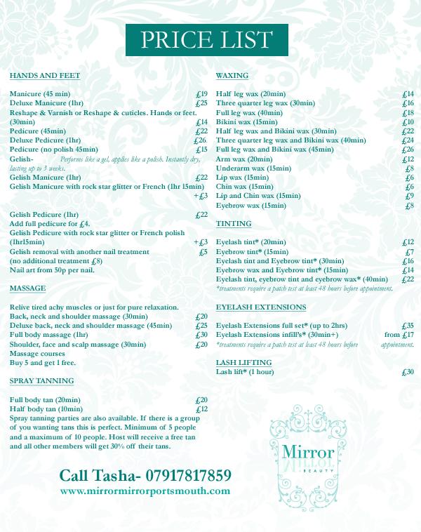 Mirror Mirror Beauty Salon Portchester, Price List, Nails, Eyelash  Extensions, Lvl,