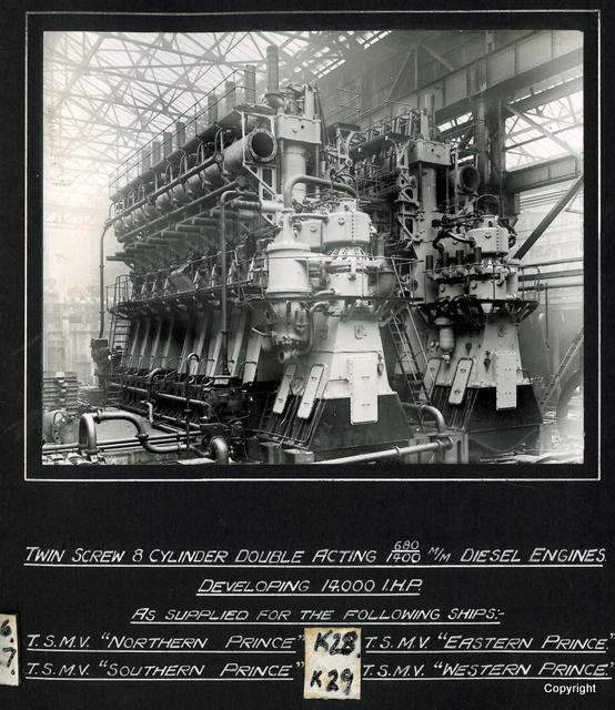 Twin screw 8 cylinder acting diesel engines Eastern Prince