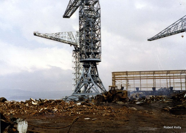 Scotts Cartsburn March 1988 demolition cranes
