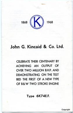 Kincaid Centenary Engine notice