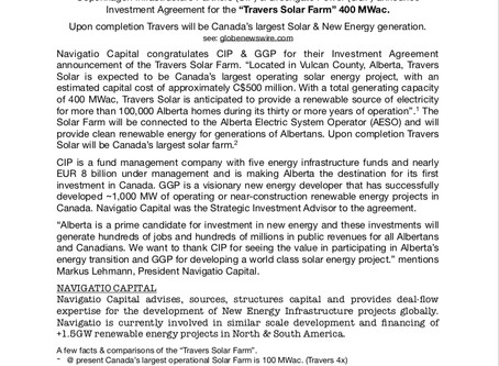 Navigatio - Strategic Investment Advisor - Canada's Largest Solar Production Facility