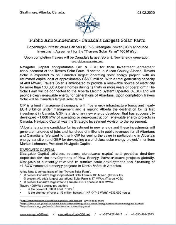 Navigatio Public Announcement - Canada's