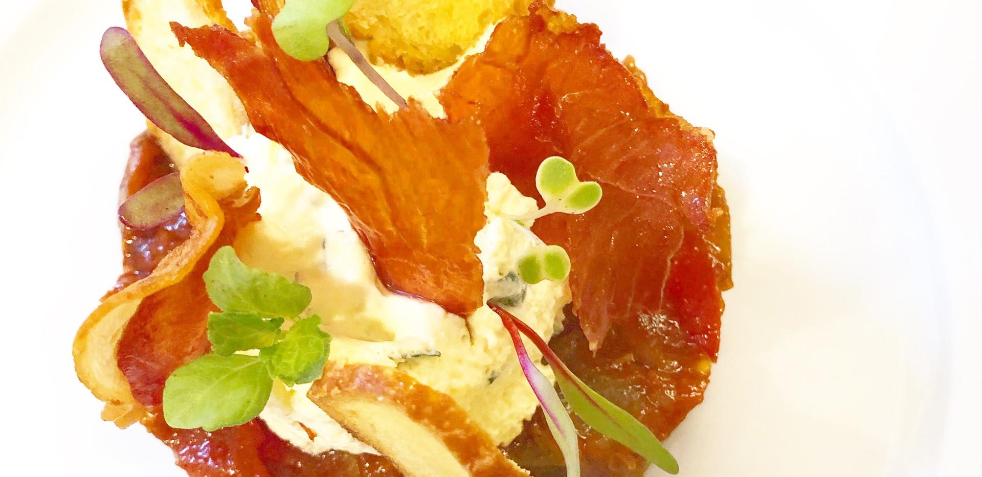 cheese mascarpone mousse and prociutto