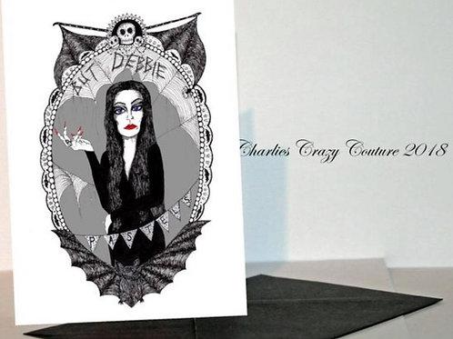 Morticia Addams But Debbie Pastels? A6 card
