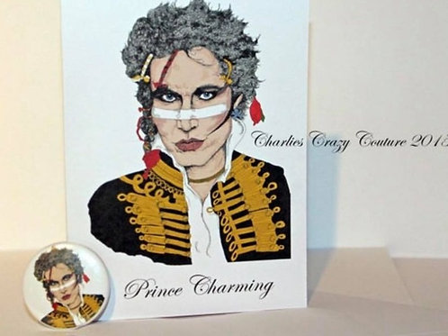 Adam Ant /Prince charming card and badge