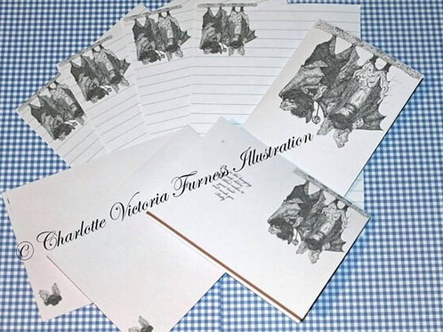 Victorian Gothic Bat stationary/ writing set