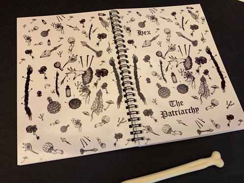 Hex the patriarchy Note book and bone pen