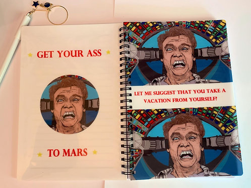Total recall Arnold Schwarzenegger A5 lined note book with star pen