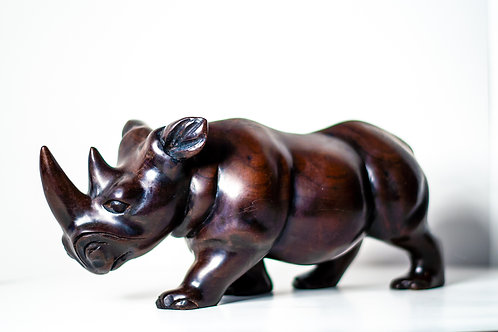 Imported West African solid wood handcrafted  Rhino