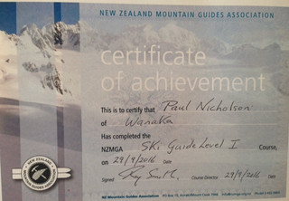 Congratulations to Paul for passing his big assessment for his Ski Guide Certificate.