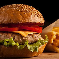 Picadilllo Chorizo Burger with fries