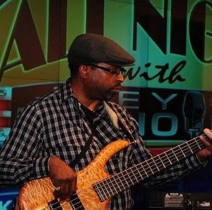 Bassist Lamont Bates on NBC in Times Square, New York NY
