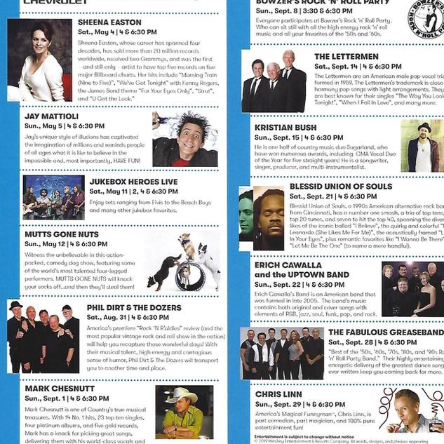 2019 Hersheypark Concert Series Schedule