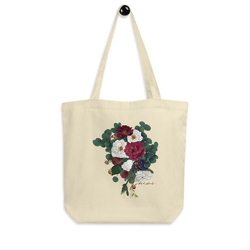 Maroon and White Flowers Eco Tote Bag