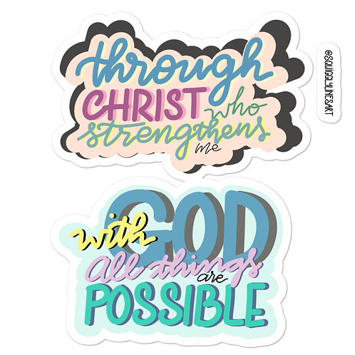 5.5x5.5 sticker sheet with 2 Bible verses