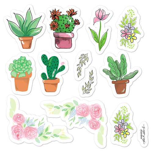 "Plant Sticker 5""x5"" sheet (12 individual vinyl stickers)"