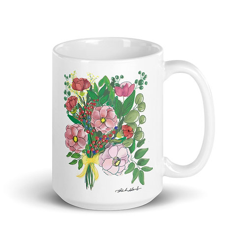 Pink flower Bouquet White glossy mug