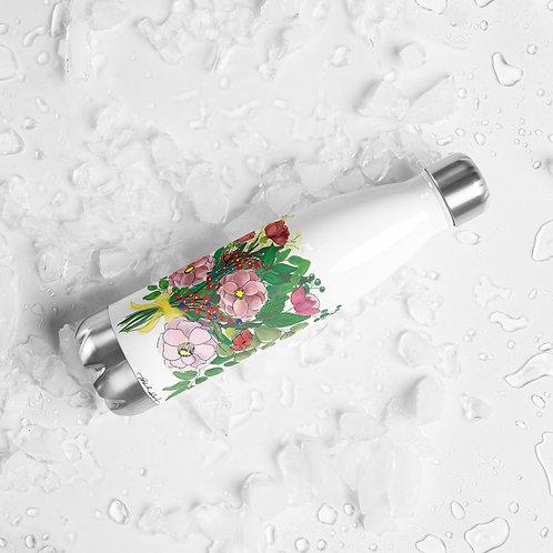 Pink Flower Bouquet Stainless Steel Water Bottle
