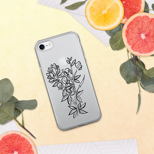 Wildflower Branch Clear Background iPhone Case