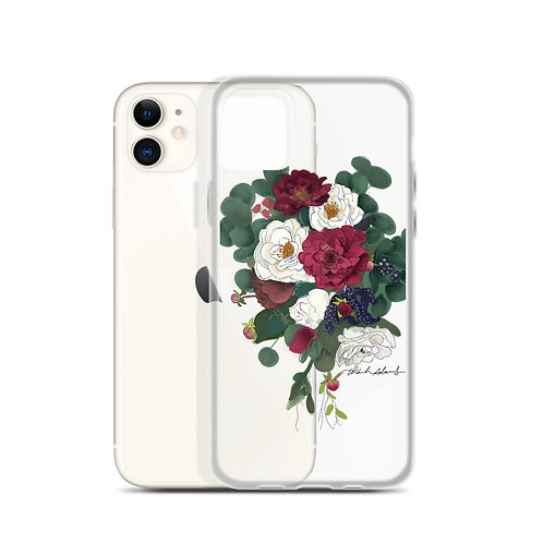 Maroon and White Bouquet iPhone Case