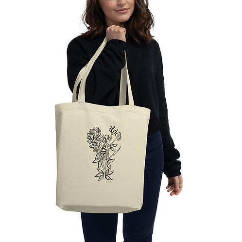 Wildflowers Branch- Oyster Color- Eco Tote Bag