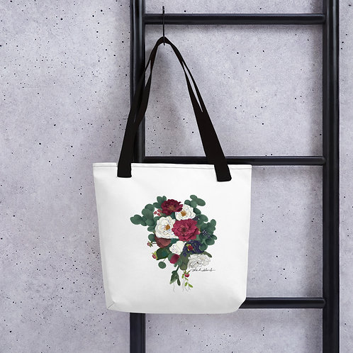 Maroon and White Flowers Tote bag