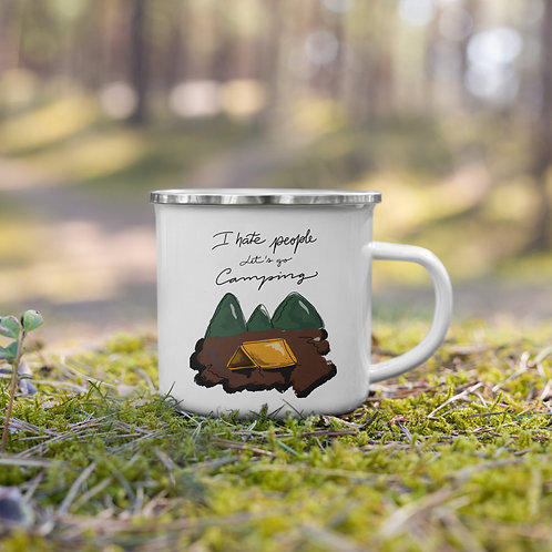 I hate people Let's go camping Enamel Mug