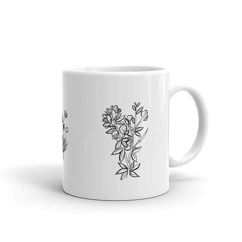 Wildflowers White glossy mug